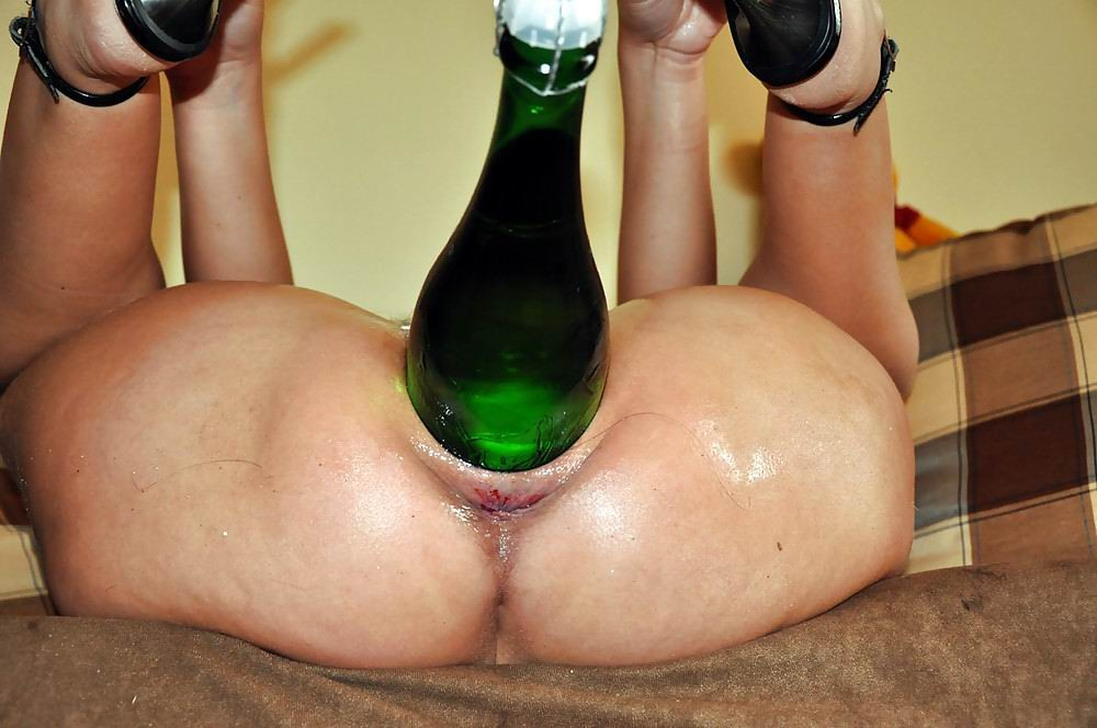Pussy and video and beer bottle, wet puzzy naked