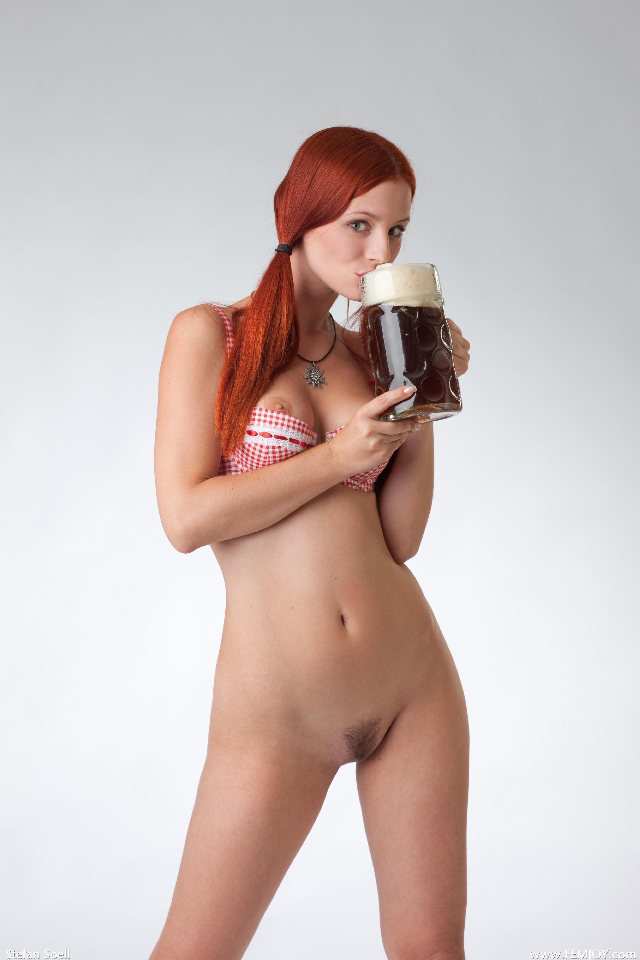 Girl girls beer nude shaped titties