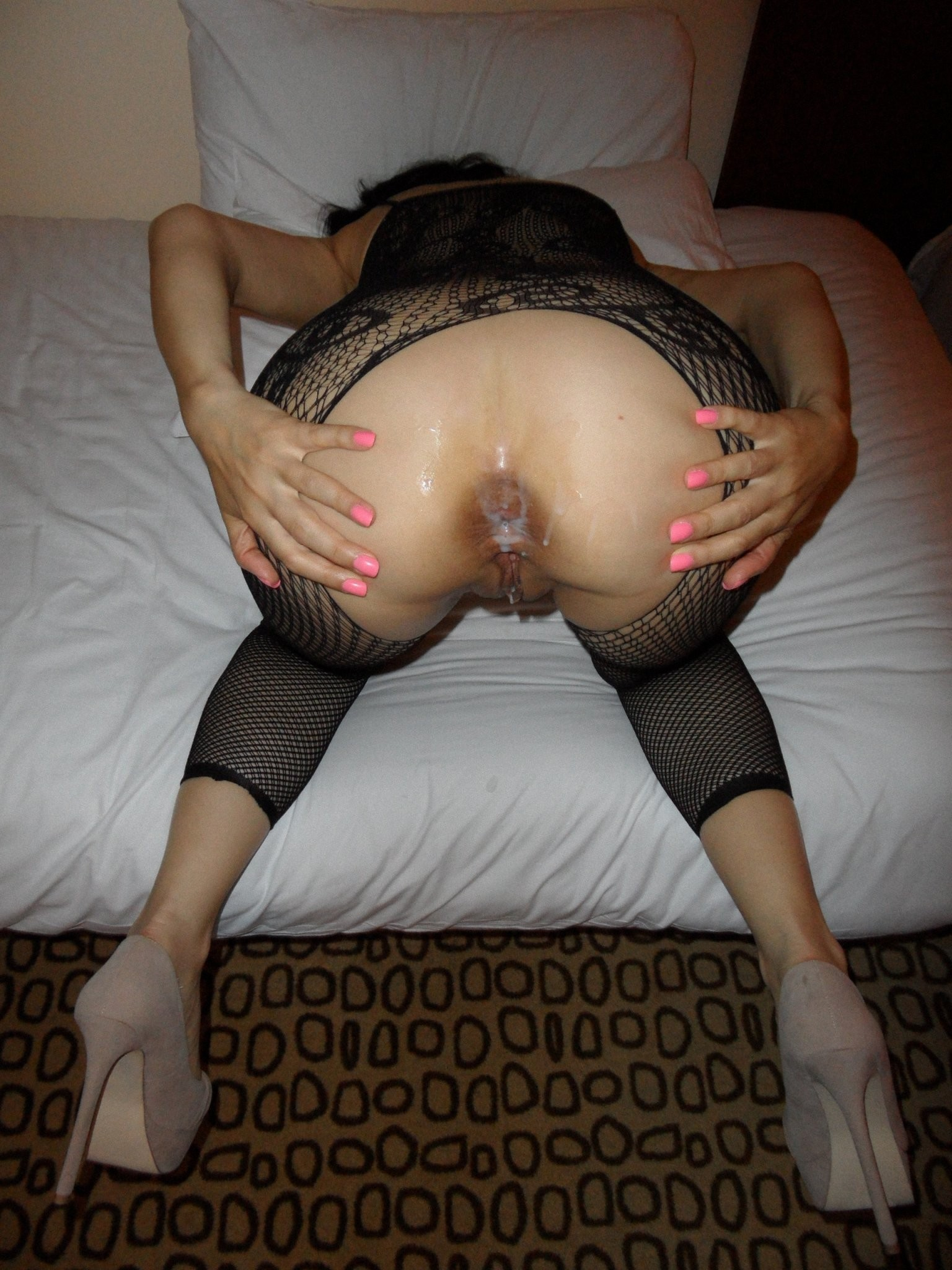 Amateur Milf Spread Ass