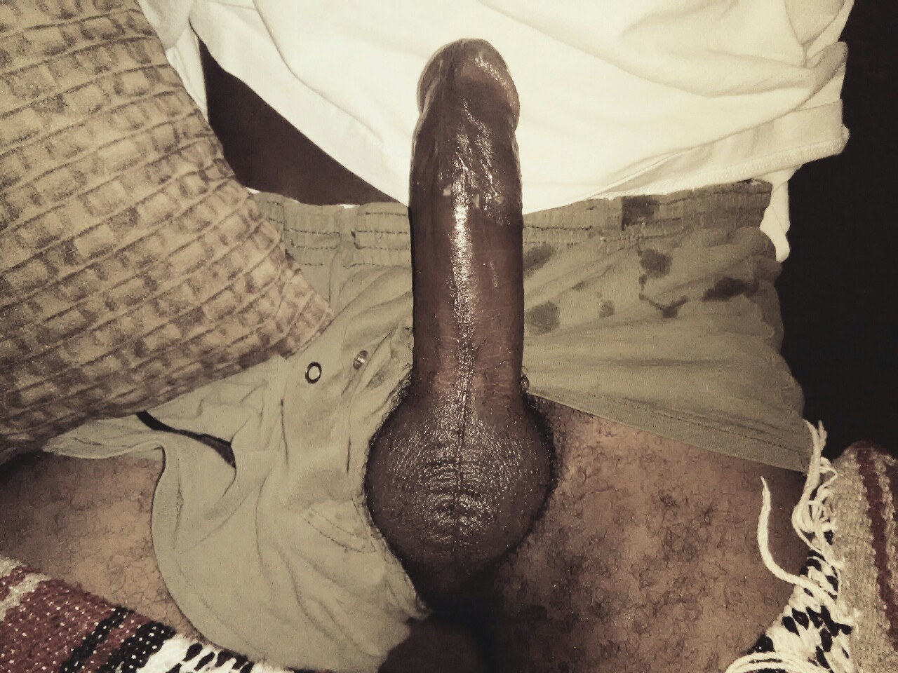 Rubbing big black dick
