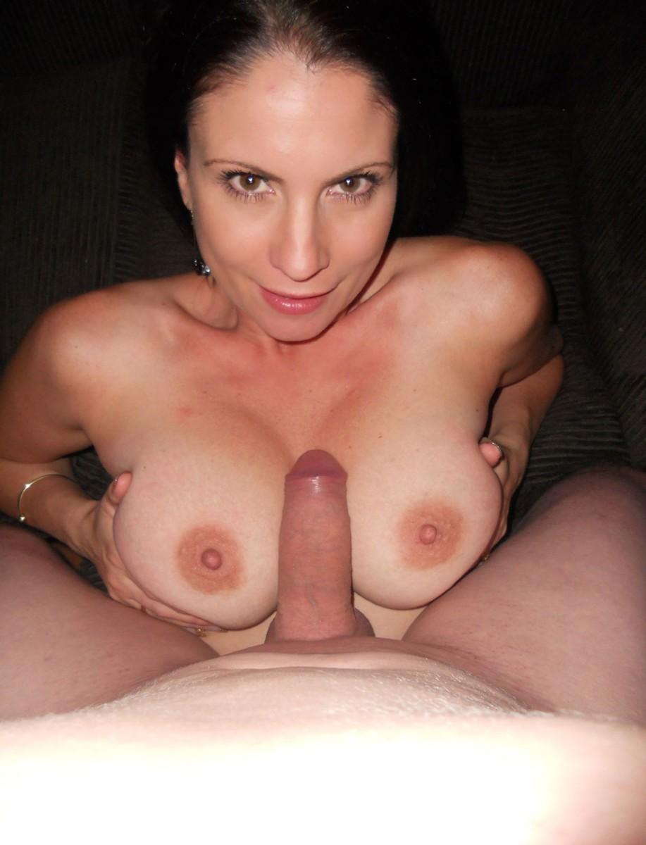 Wife blowjob handjob cum on tits