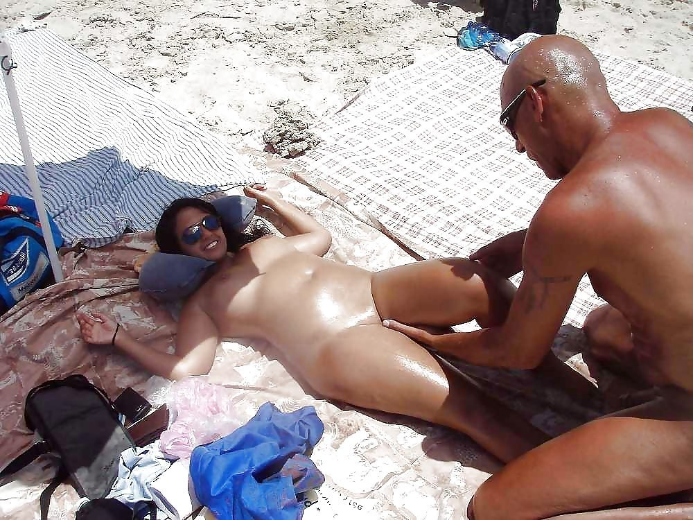 Showering nude sexy wife at the beach erotic