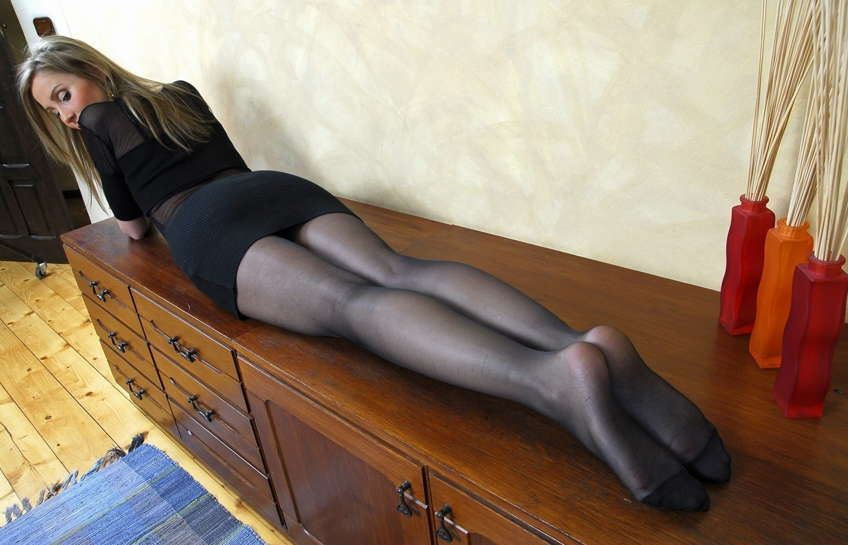 Skinny girls in tights nylons pantyhose, naked prepubescent little boys
